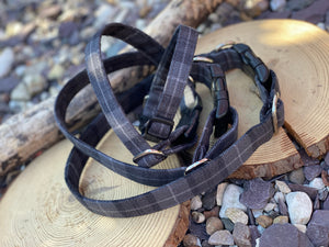 Dark grey flannel check collar