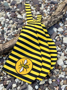 "Manchester Bee ""Happy Bee yellow & black stripe"" tie-on dog bandana"