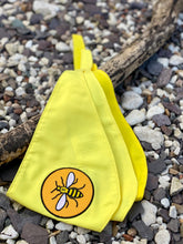 "Load image into Gallery viewer, Manchester Bee ""Sunshine yellow"" tie-on dog bandana"