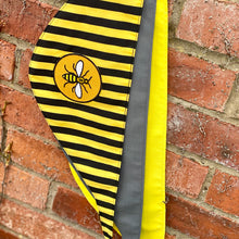 "Load image into Gallery viewer, Manchester Bee ""Happy Bee yellow & black stripe"" tie-on dog bandana"