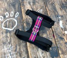 Load image into Gallery viewer, Handmade dog harness in bright pink tartan