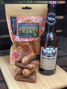 Sausage, chips & beer treat pack