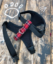 Load image into Gallery viewer, Handmade dog harness in classic red tartan