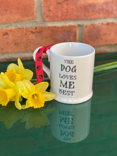 """Dog loves me best"" mug"