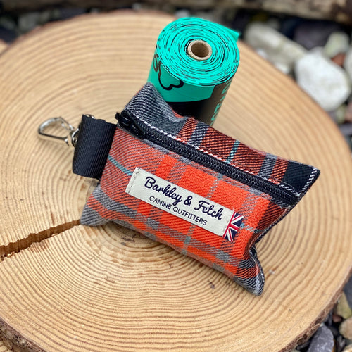 Orange & grey tartan poop bag holder