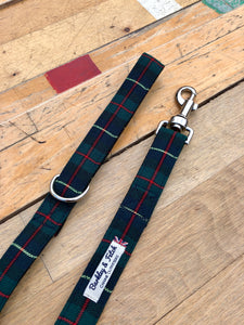 Green/red/navy window pane check lead by Barkley & Fetch