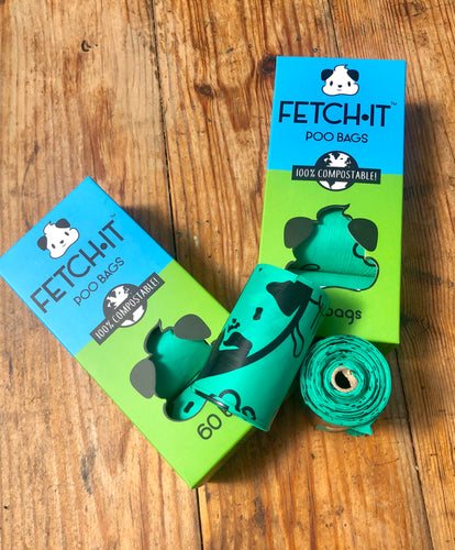 """Fetch it"" compostable poop bags"