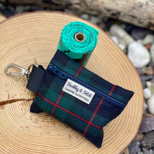 Black watch tartan poop bag holders