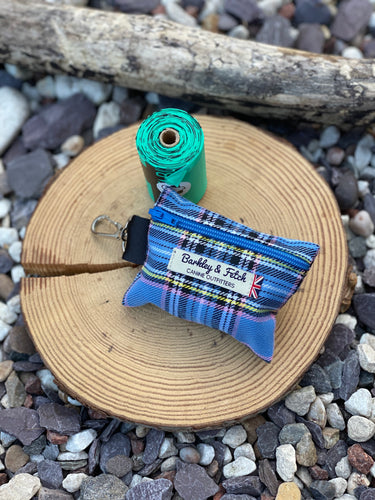 Sky blue tartan poop bag holder