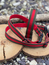 Load image into Gallery viewer, Green & red webbing collar