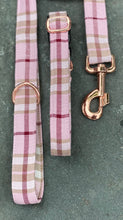 Load image into Gallery viewer, Pink/red/beige check collars & lead