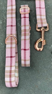 Pink/red/beige check collars & lead