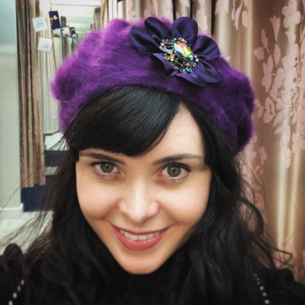 Aisling Maher Purple Beret With Floral Embellishment