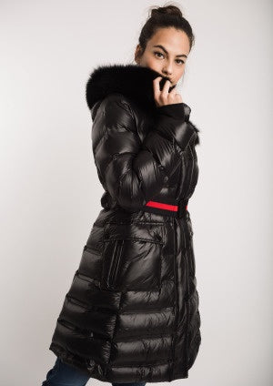 Black Puffa Long Coat with Fur Trimmed Hood