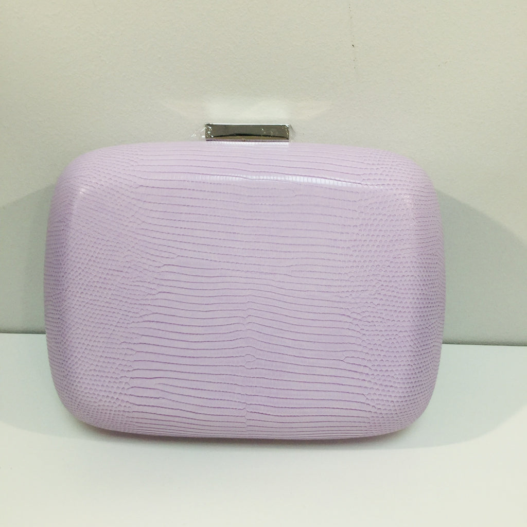 Paloma Lavender Reptile Embossed Clutch