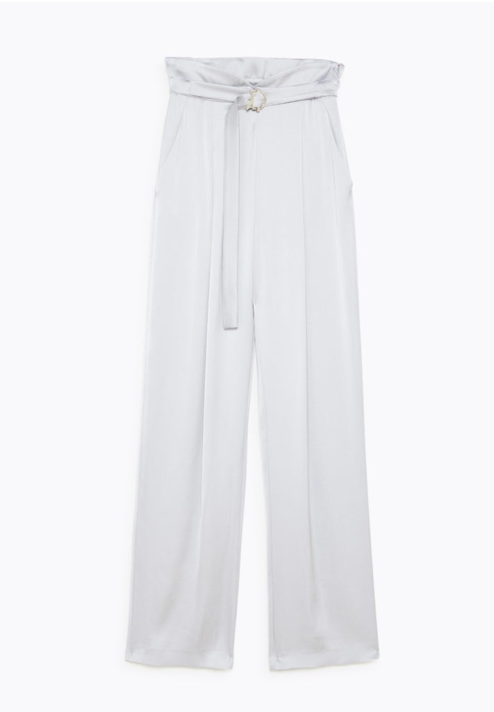 Silver Grey Satin Palazzo Trousers