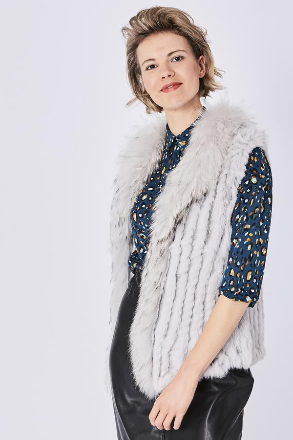 Light Grey Fox and Coney Fur Gilet With Collar Feature