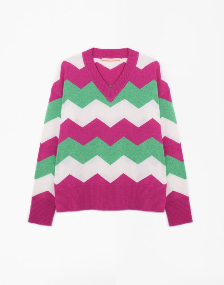 Elisa Sweater in Green, Pink and Cream