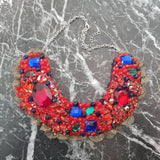 Small Collar - Red Blue & Green with Gold Lace