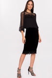 Velvet Pencil Skirt With Lace Trim