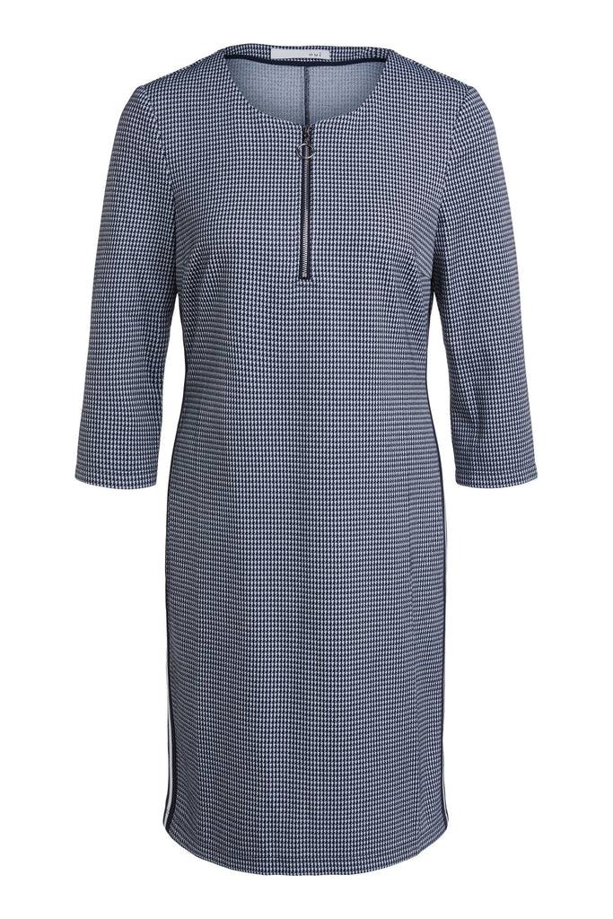 Fitted Dress in Navy and Ivory Houndstooth Pattern