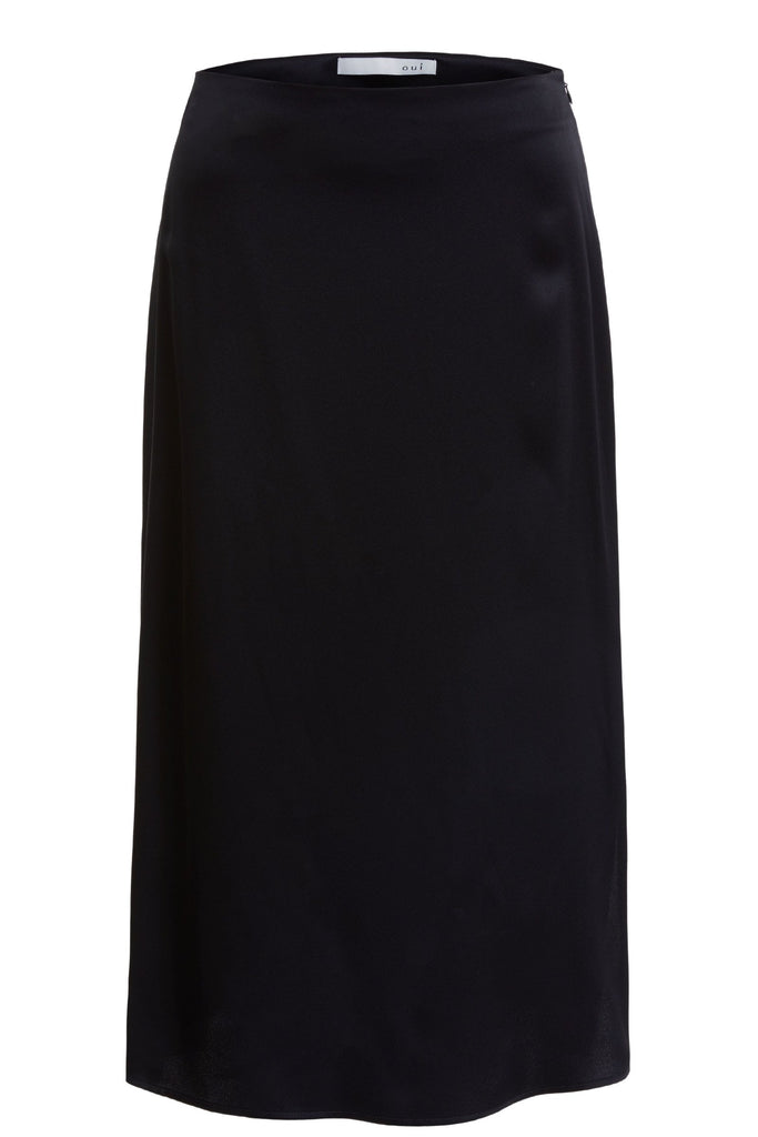 Navy Satin Pencil Skirt