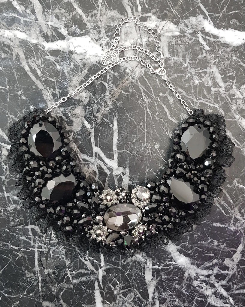 Small Collar - Black with some Silver with Black Lace