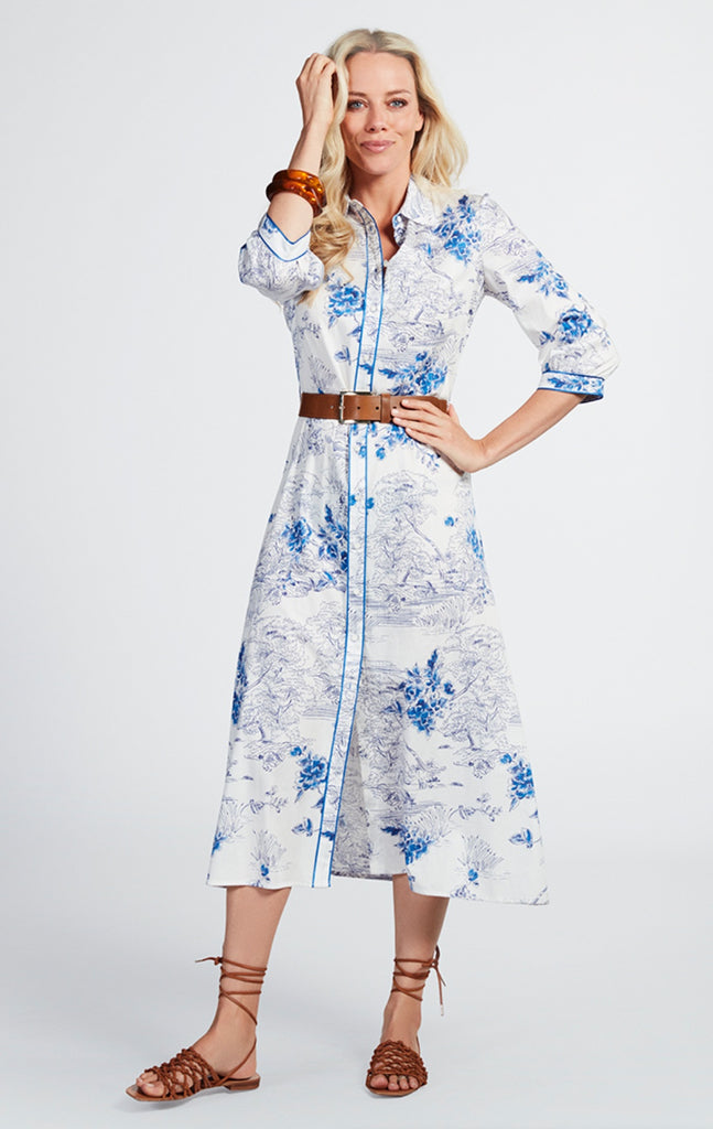 Shirt Dress in a blue  vintage print