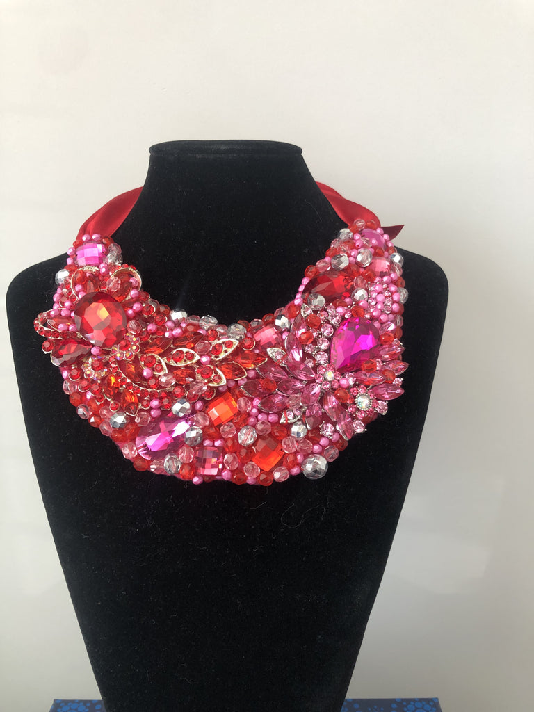 Medium Collar - Red Pink &Silver Crystals