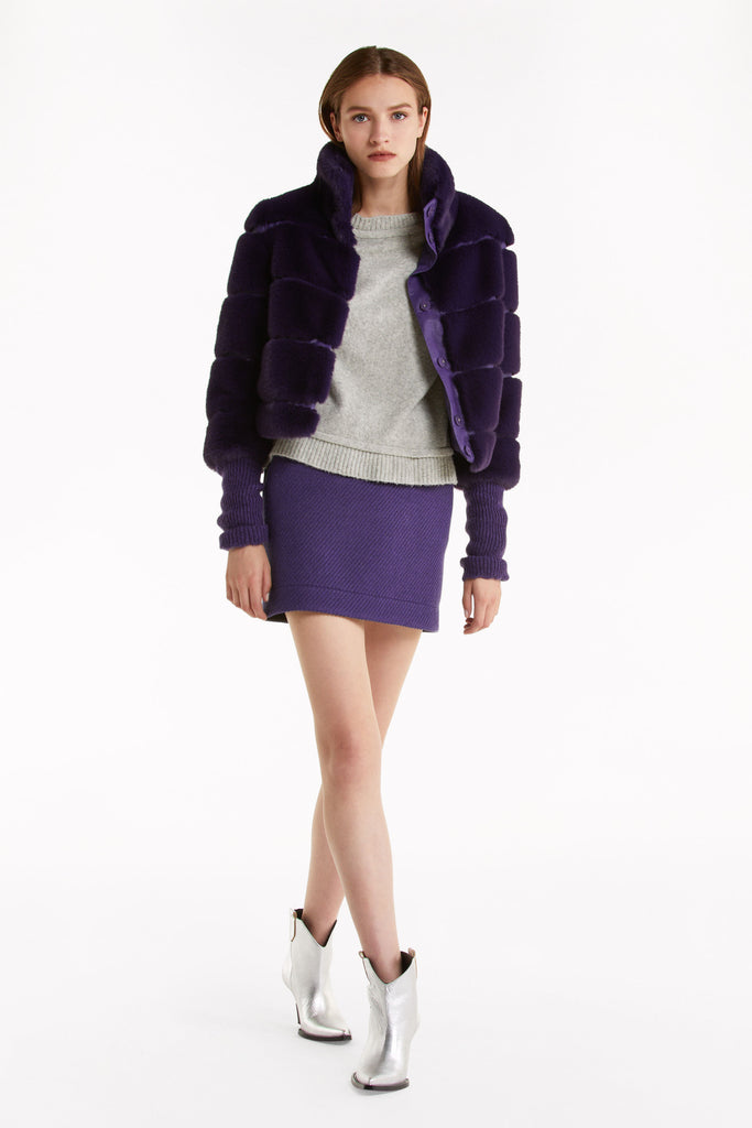 Fur Bomber Jacket with Contrast Sleeve