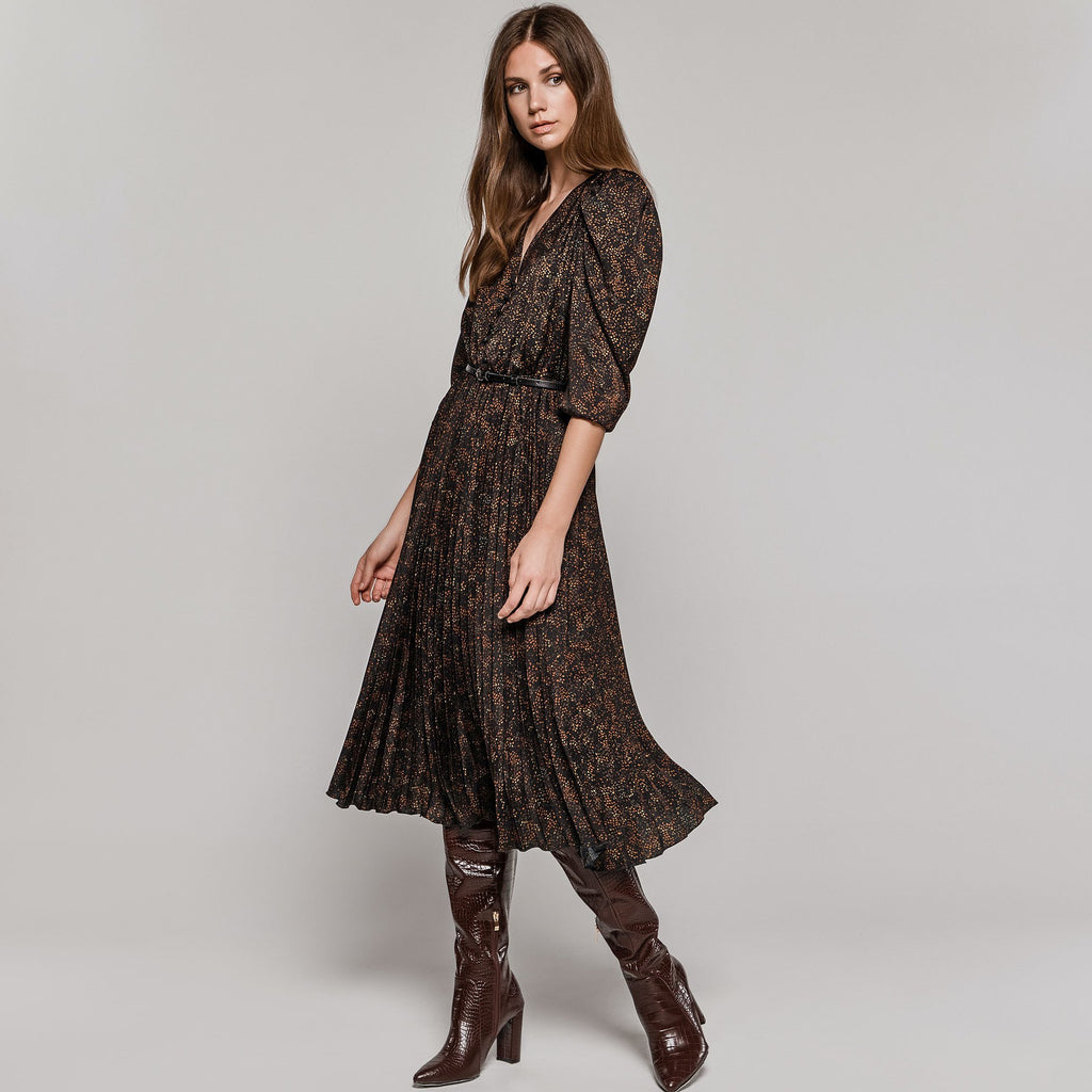 Brown and Black Dress with Pleated Skirt