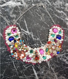 Small Collar - Pearl & Multicolour with Pink Lace
