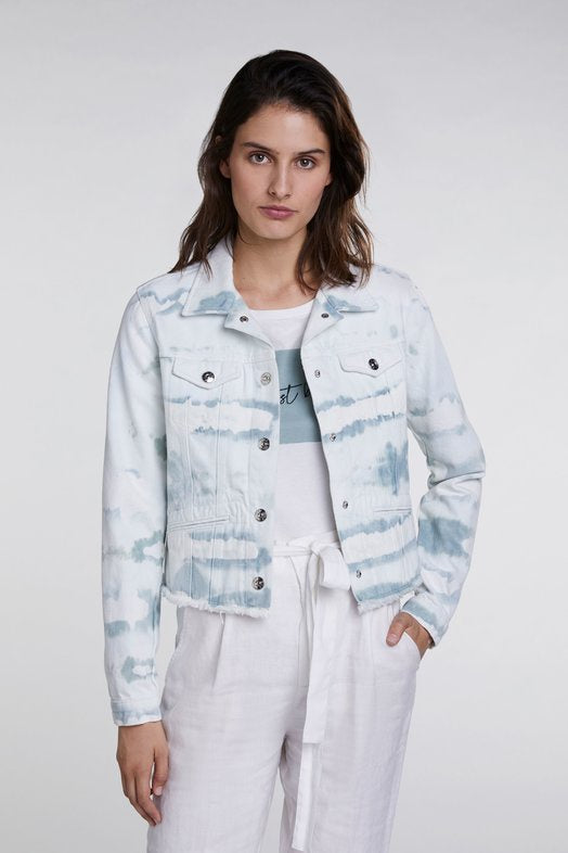 White and Mint Denim Jacket