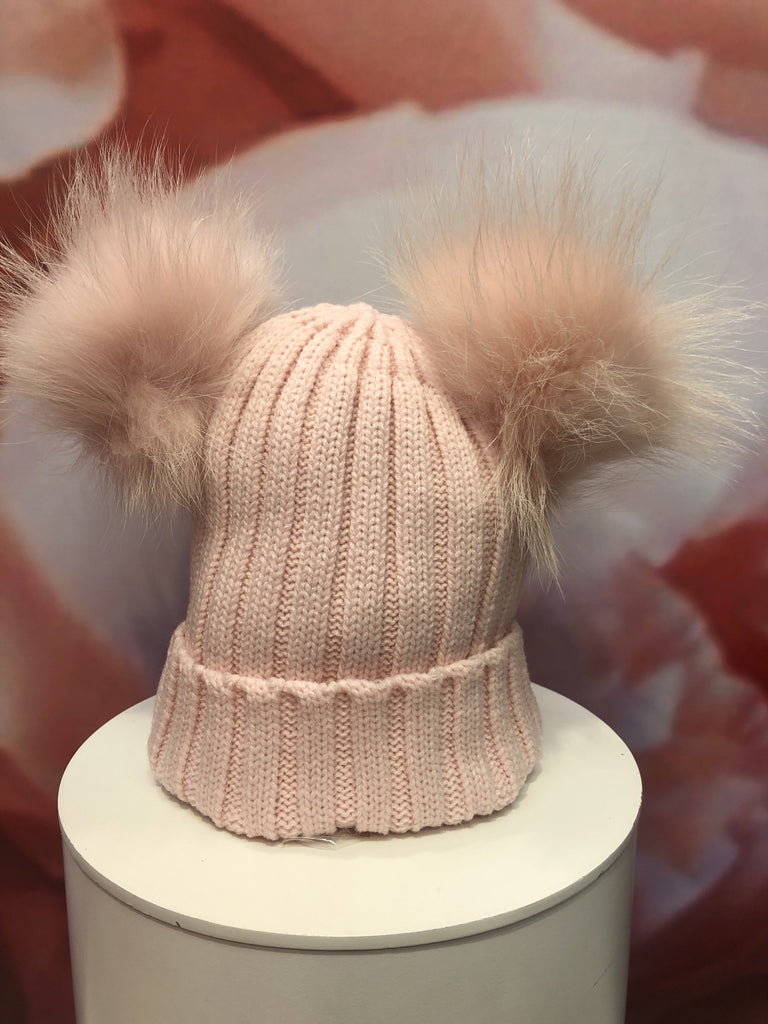 Double Pom Pom Hat in Pale Pink
