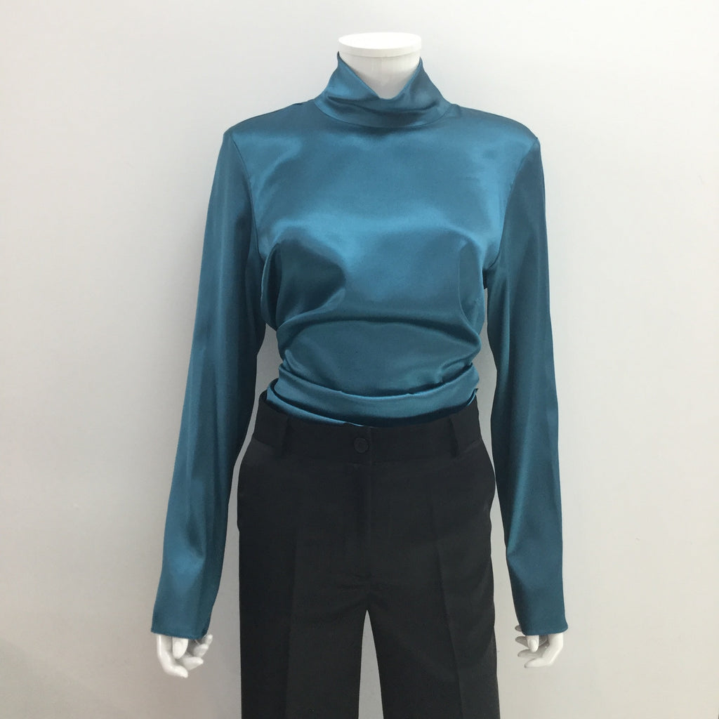 Teal Satin High Neck Top