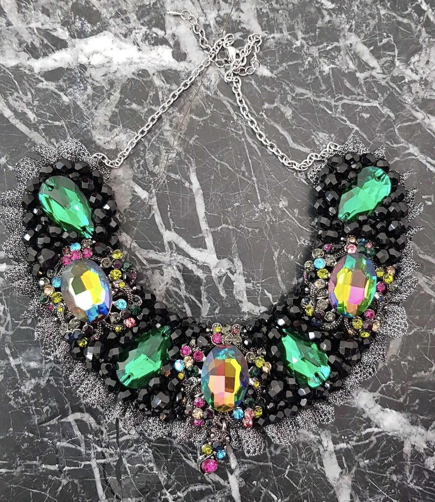 Small Collar - Black Green & Multicoloured with Pewter Lace