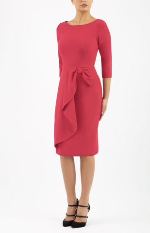 Jacky Pencil Dress Drape Bow Front