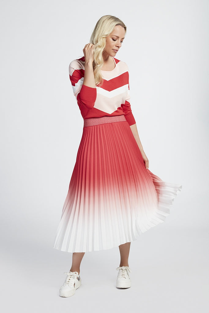 Red and White Two Tone Skirt