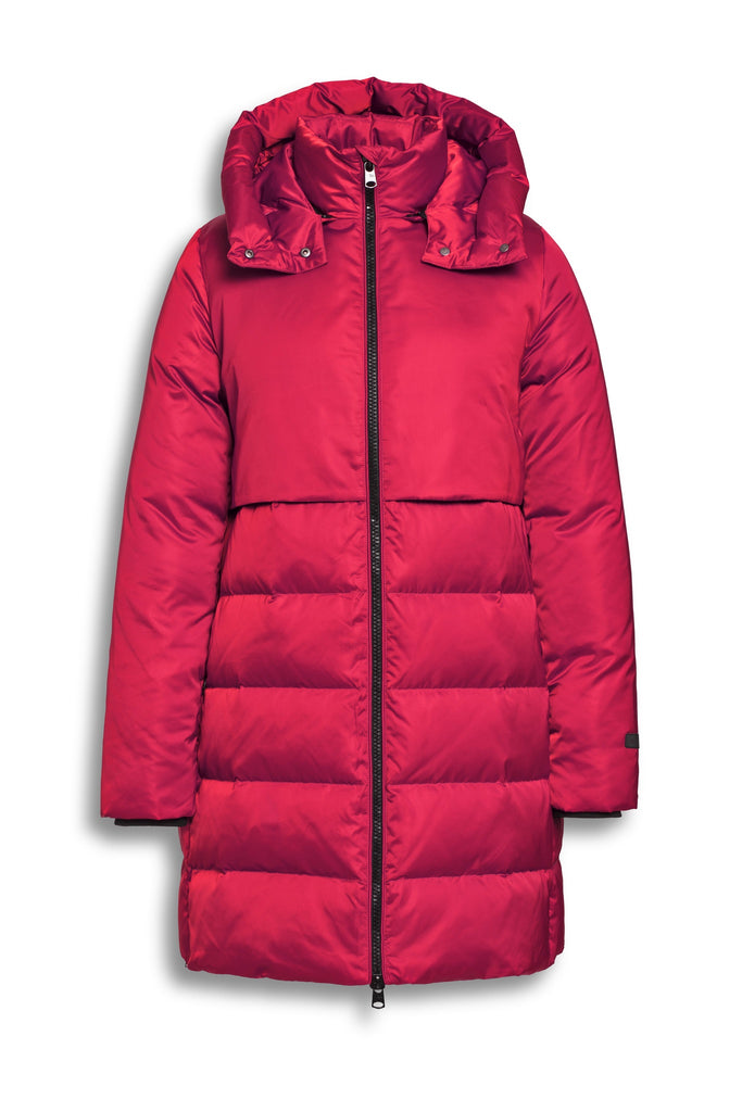 Long Down Filled Pink Coat with Detachable Hood