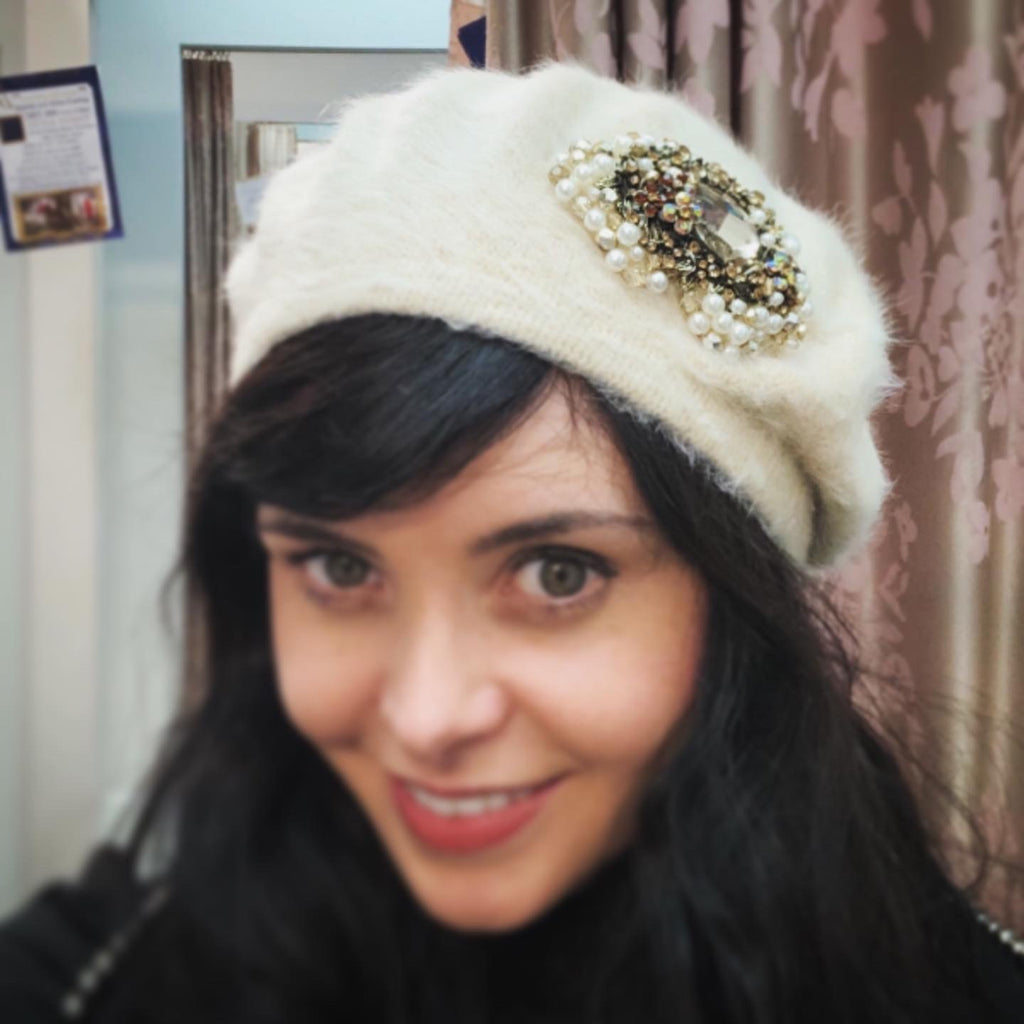 Aisling Maher Cream Angora Beret with Silver and Pearl Iris Embellishment