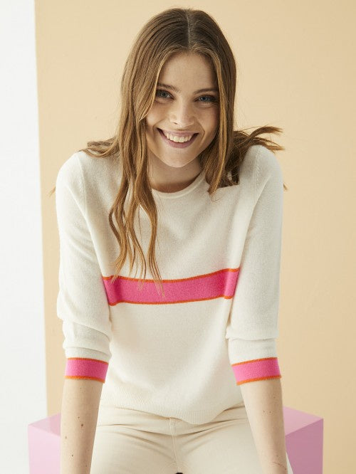 Billy Sweater in Cream with Pink And Orange Trim