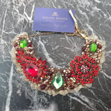 Small Collar - Red Rose Green & Gold with Gold Lace
