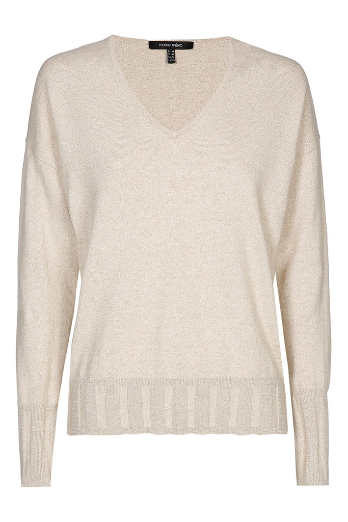 Beige Knit with Ribbed Waist Detail