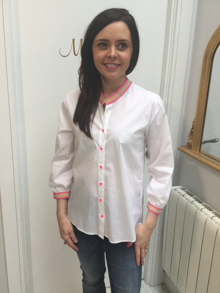 White Shirt with Pink Neck and Buttons