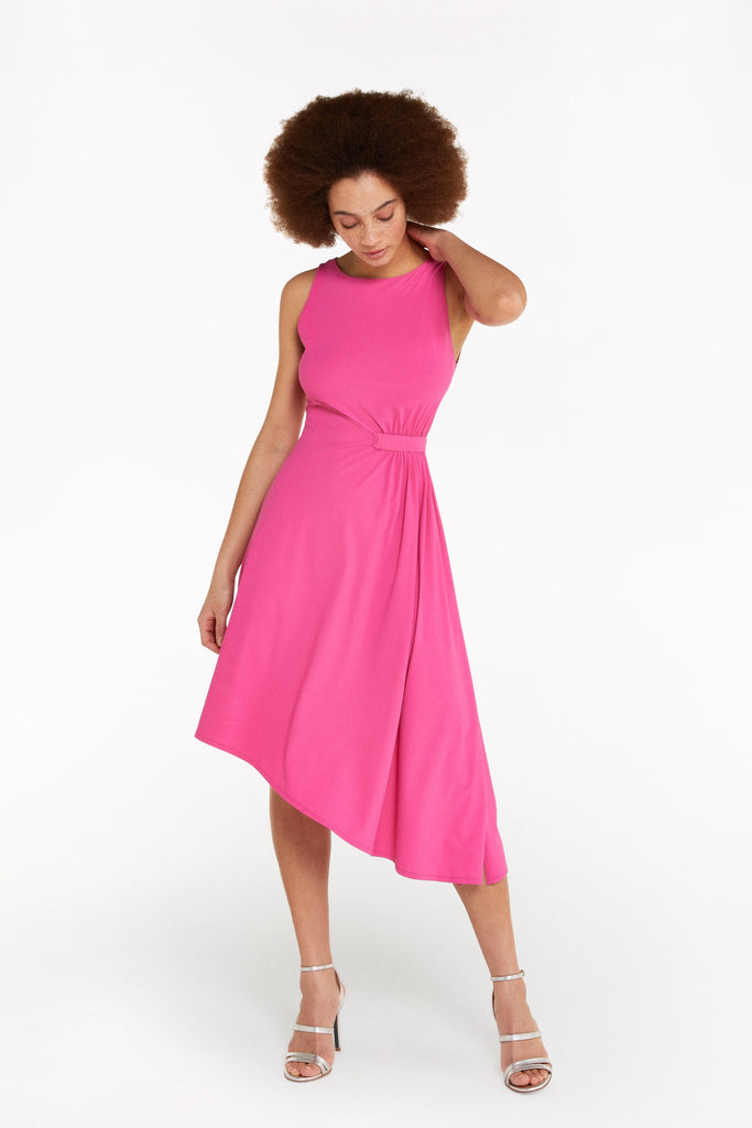Hot Pink Dress with Draped Side Detail