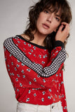 Red Printed Top with Houndstooth Sleeve Trim