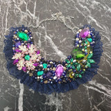 Small Collar - Green Purple & Navy with Navy Lace