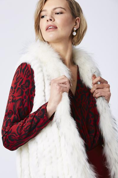 Cream Fox and Coney Fur Gilet With Collar Feature
