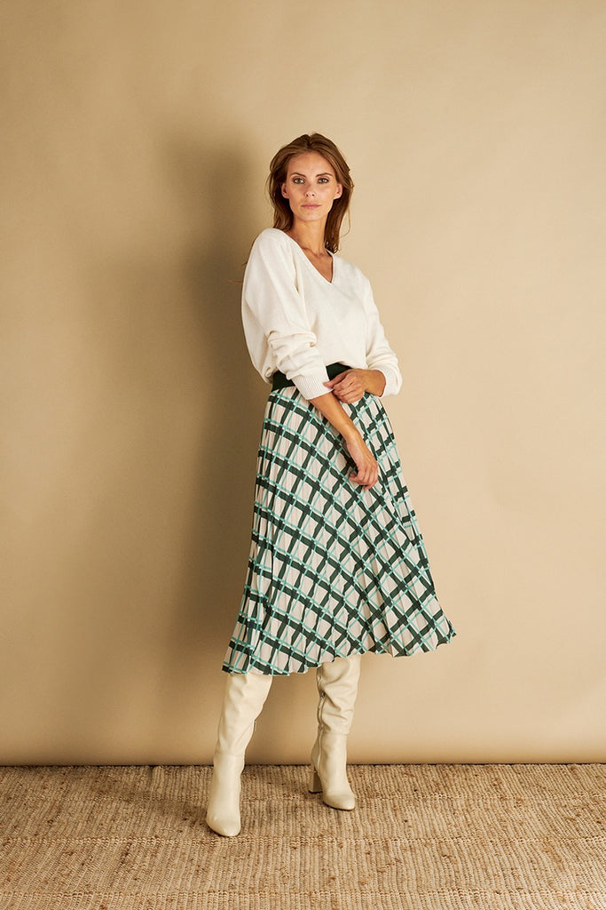 Pleated Skirt in Green Print