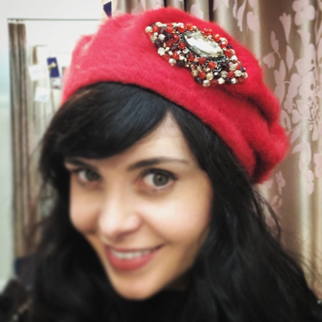 Aisling Maher Red Angora Beret with Black and Gold Iris Embellishment